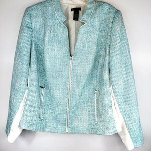 Lane Bryant Green Blazer Jacket Zippered Size 26